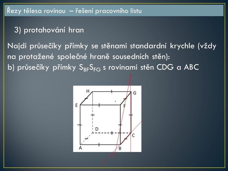 Řezy tělesa rovinou – řešení pracovního listu 3) protahování hran Najdi průsečíky přímky se stěnami standardní krychle (vždy na protažené společné hraně sousedních stěn): b) průsečíky přímky S BF S FG s rovinami stěn CDG a ABC
