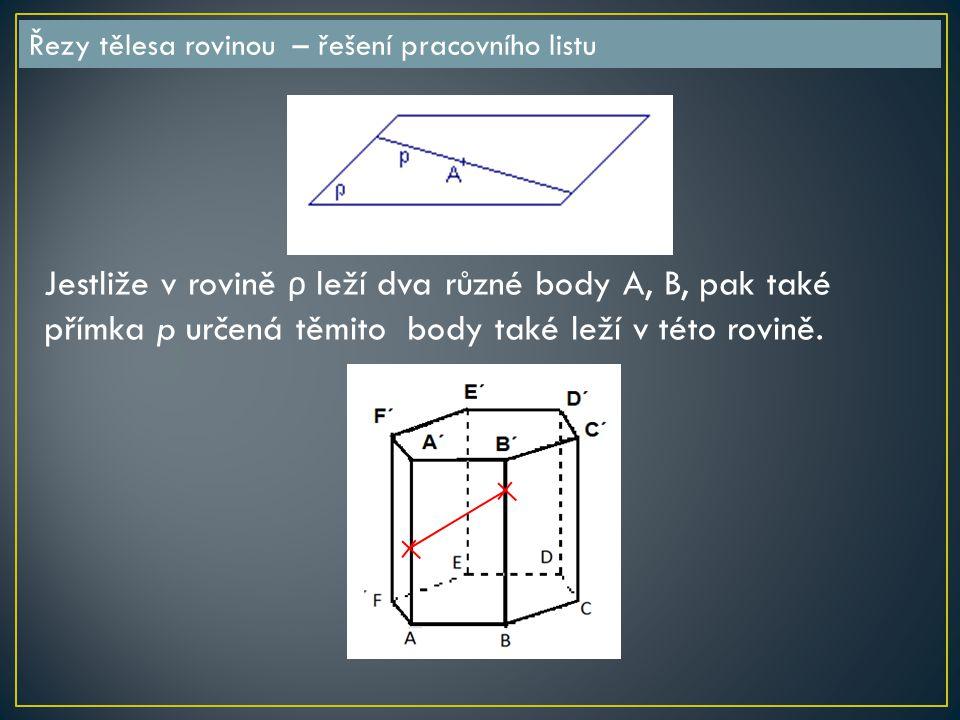 Řezy tělesa rovinou – řešení pracovního listu Jestliže v rovině ρ leží dva různé body A, B, pak také přímka p určená těmito body také leží v této rovině.