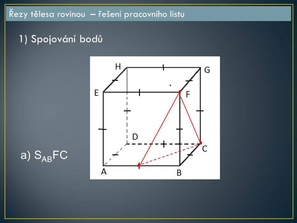 Řezy tělesa rovinou – řešení pracovního listu a) S AB FC 1) Spojování bodů