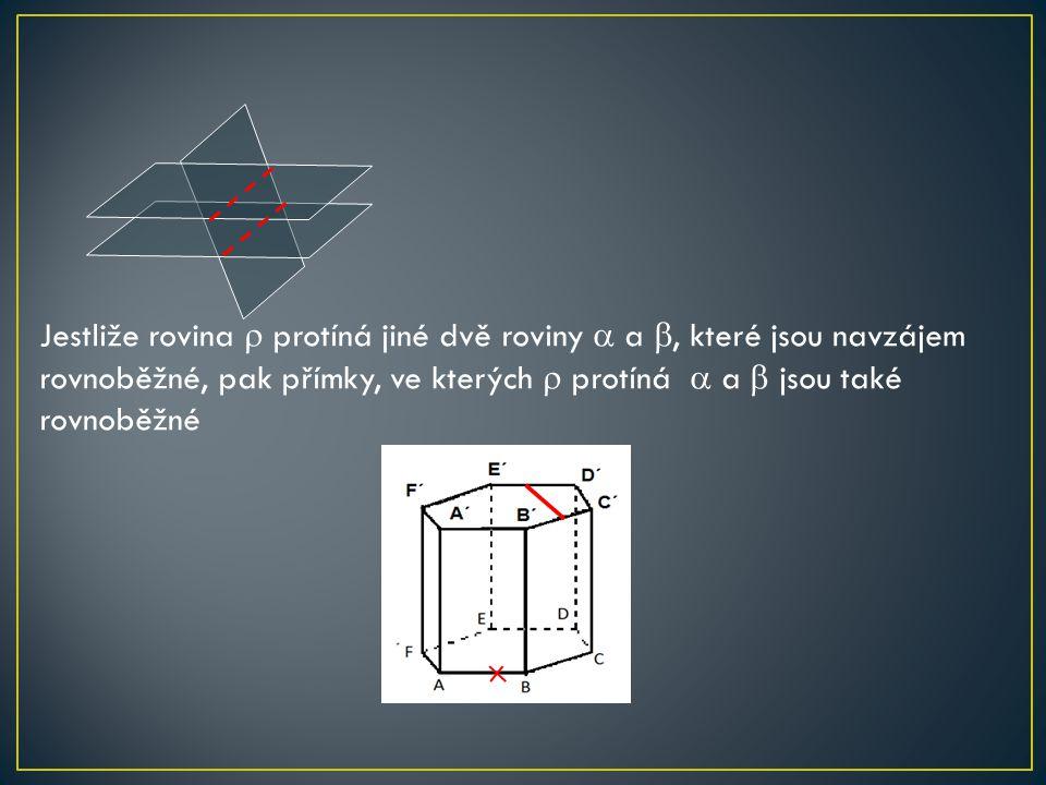 Jestliže rovina  protíná jiné dvě roviny  a , které jsou navzájem rovnoběžné, pak přímky, ve kterých  protíná  a  jsou také rovnoběžné