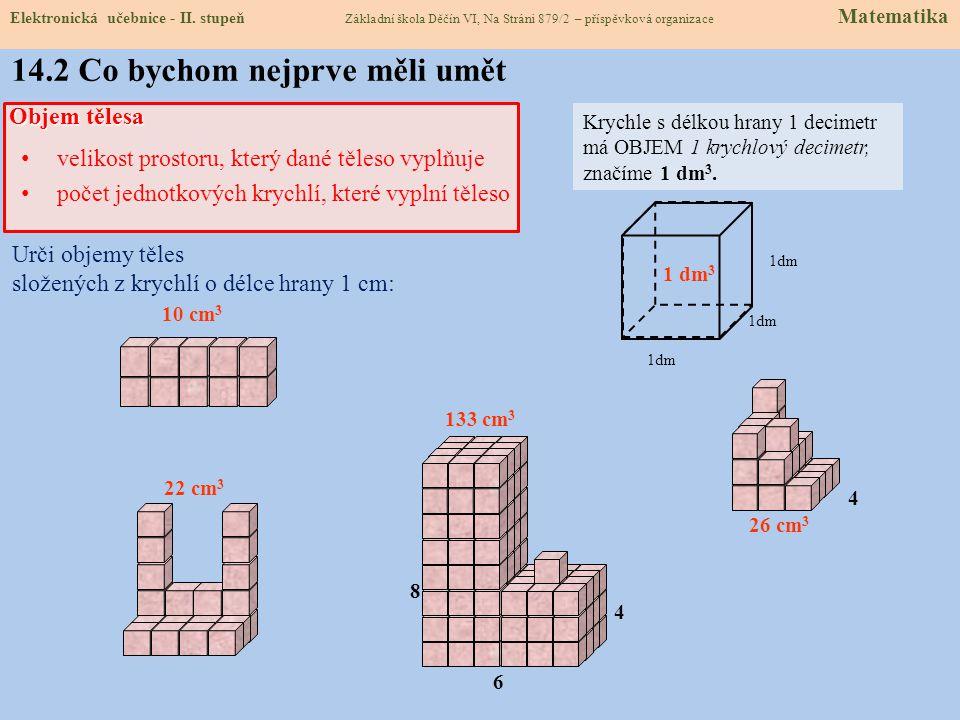 14.2 Co bychom nejprve měli umět Objem tělesa velikost prostoru, který dané těleso vyplňuje počet jednotkových krychlí, které vyplní těleso Urči objemy těles složených z krychlí o délce hrany 1 cm: 10 cm 3 22 cm 3 133 cm 3 26 cm 3 4 6 8 4 Krychle s délkou hrany 1 decimetr má OBJEM 1 krychlový decimetr, značíme 1 dm 3.