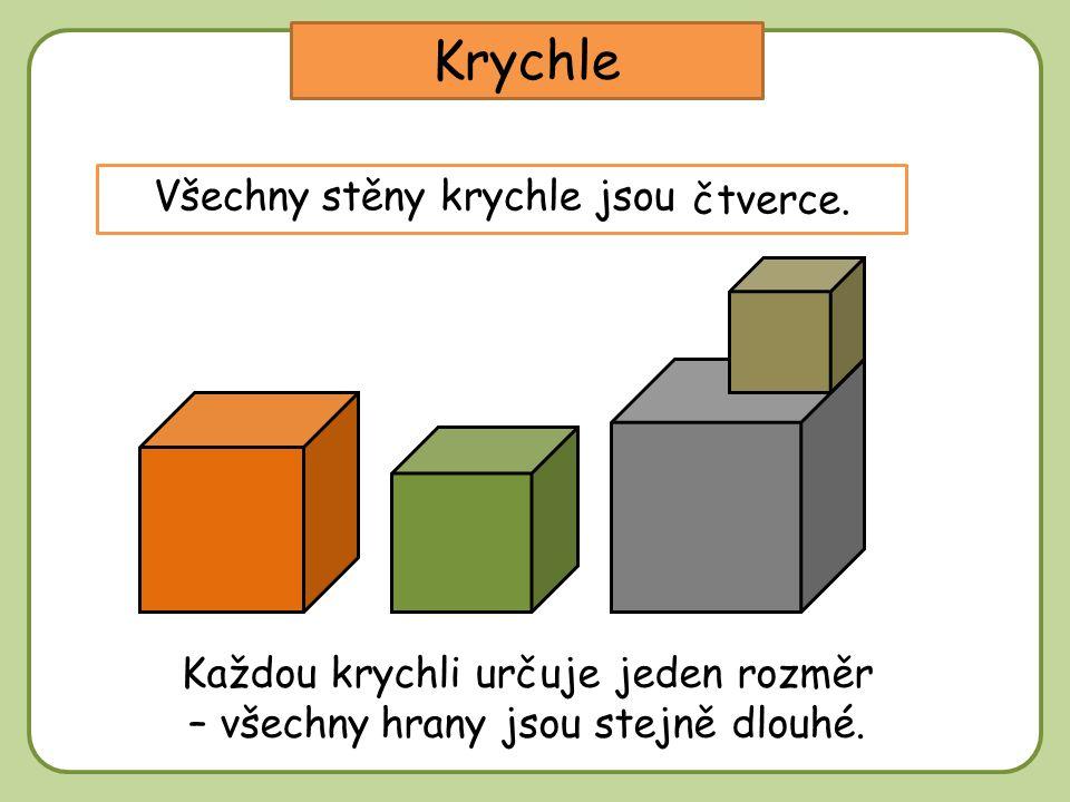 Krychle Všechny stěny krychle jsou ………… čtverce. Každou krychli určuje jeden rozměr – všechny hrany jsou stejně dlouhé.