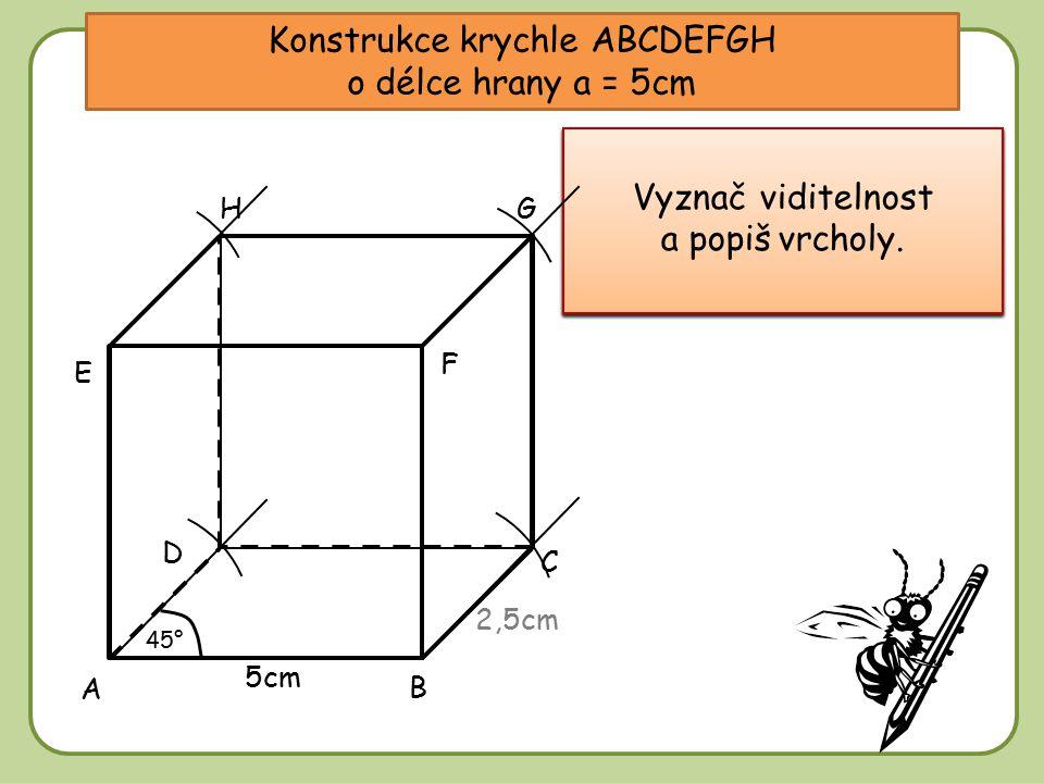 Konstrukce krychle ABCDEFGH o délce hrany a = 5cm Narýsuj přední stěnu – čtverec o velikosti 5cm. Narýsuj přední stěnu – čtverec o velikosti 5cm. 5cm