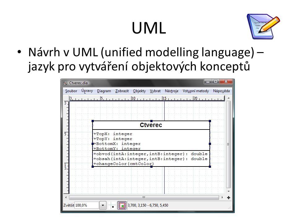 UML Návrh v UML (unified modelling language) – jazyk pro vytváření objektových konceptů
