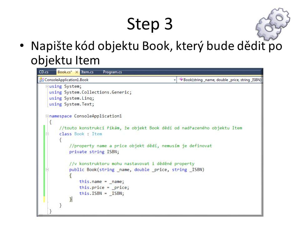 Step 3 Napište kód objektu Book, který bude dědit po objektu Item