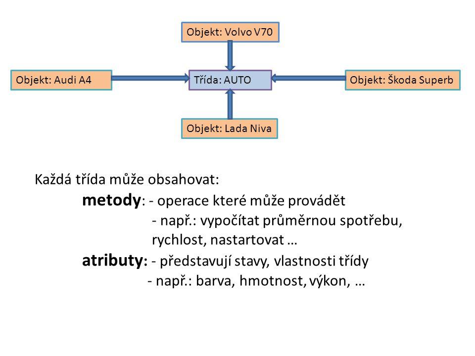 Implementace tříd v C# Třídy jsou v C# deklarovány pomocí klíčového slova class Konstruktor – slouží k počáteční inicializaci atributů objektu – je volán automaticky pokaždé, když je vytvořena instance objektu – Nemá návratovou hodnotu – Má vždy stejný název jako třída Destruktor – slouží k operacím souvisejícím s koncem existence objektu – Nemá návratovou hodnotu ani parametry – Normálně jsou volány v okamžiku, kdy Garbage Collector odstraňuje objekt y paměti Pokud není konstruktor a detruktor definován je použit implicitní Atributy a metody: Dva specifikátory přístupu – Get – slouží k přístupu a čtení hodnoty atributu objektu – Set – slouží k nastavení atributu objektu
