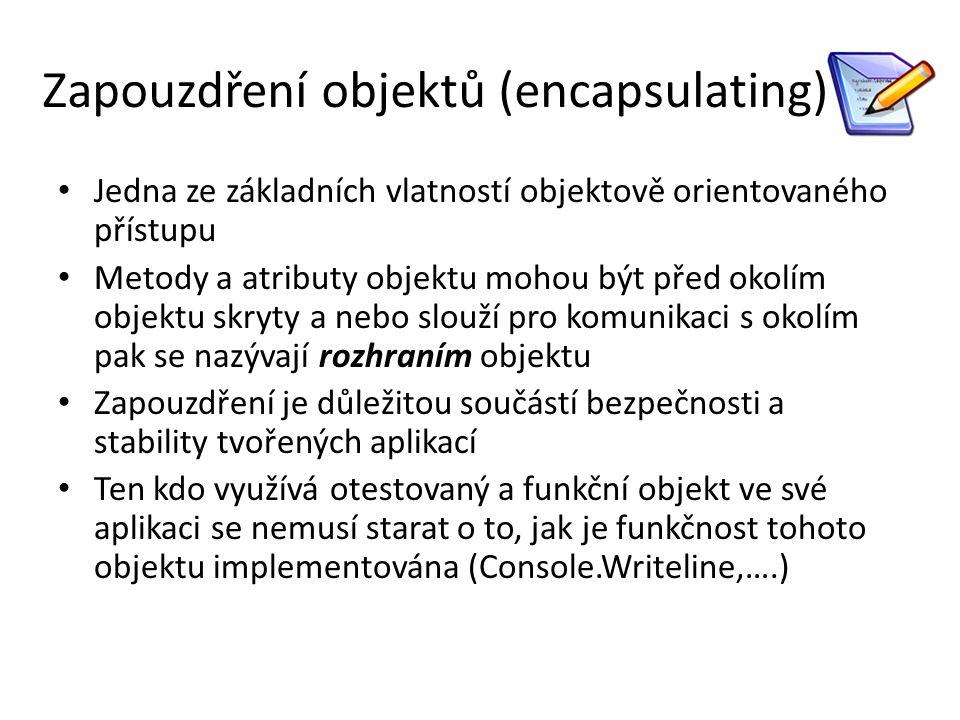 """// Namespace deklarace using System; // deklaruji třídu Output která má vnitřní členy proměnou string a metodu printString class OutputClass { string myString; // Constructor naší třídy – naplní vnitřní proměnou myString hodnotou parametru public OutputClass(string inputString) { myString = inputString; } // Instance Method vypíše na konzoli obsah vnitřní proměnné public void printString() { Console.WriteLine( {0} , myString); } // Destructor ~OutputClass() { //kód související s ukončením činnosti objektu } } // Program start class class ExampleClass { // Main – funkce kde začíná program public static void Main() { // vytvoříme nový objekt (instanci) třídy OutputClass OutputClass outCl = new OutputClass(""""Toto píše objekt třídy OutputClass. ); // Zavolání metody námi vytvořeného objektu outCl.printString(); } }"""