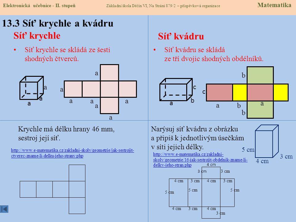 a.b a.a 13.2 Co již víme a budeme potřebovat: Obsah čtverce: S = a.a Obsah obdélníku: S = a.b Síť tělesa Síť tělesa sestrojíme tak, že všechny jeho stěny zakreslíme do jedné roviny takovým způsobem, že např.