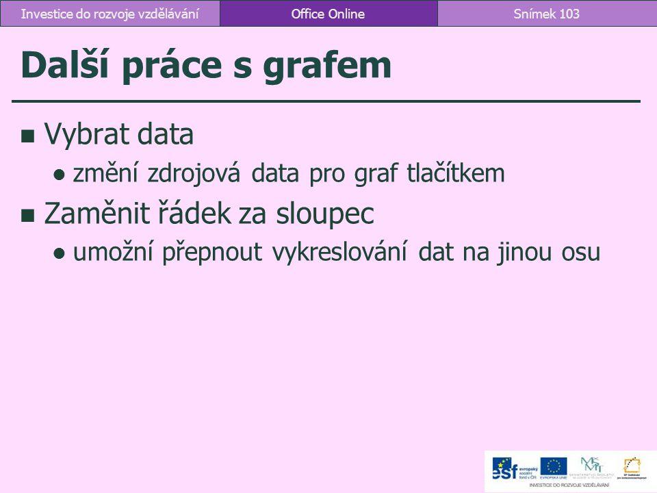 Další práce s grafem Vybrat data změní zdrojová data pro graf tlačítkem Zaměnit řádek za sloupec umožní přepnout vykreslování dat na jinou osu Office