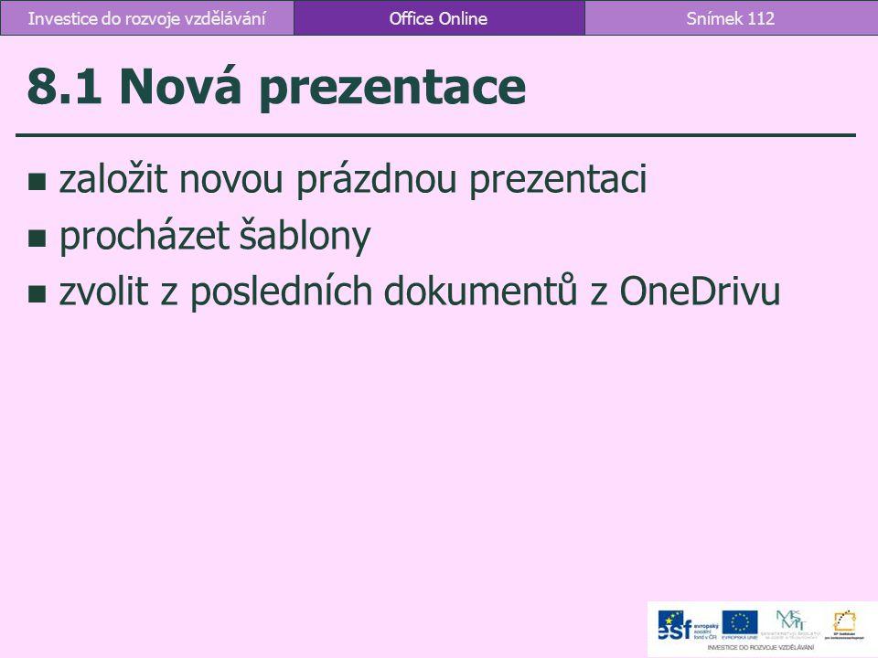 8.1 Nová prezentace založit novou prázdnou prezentaci procházet šablony zvolit z posledních dokumentů z OneDrivu Office OnlineSnímek 112Investice do r