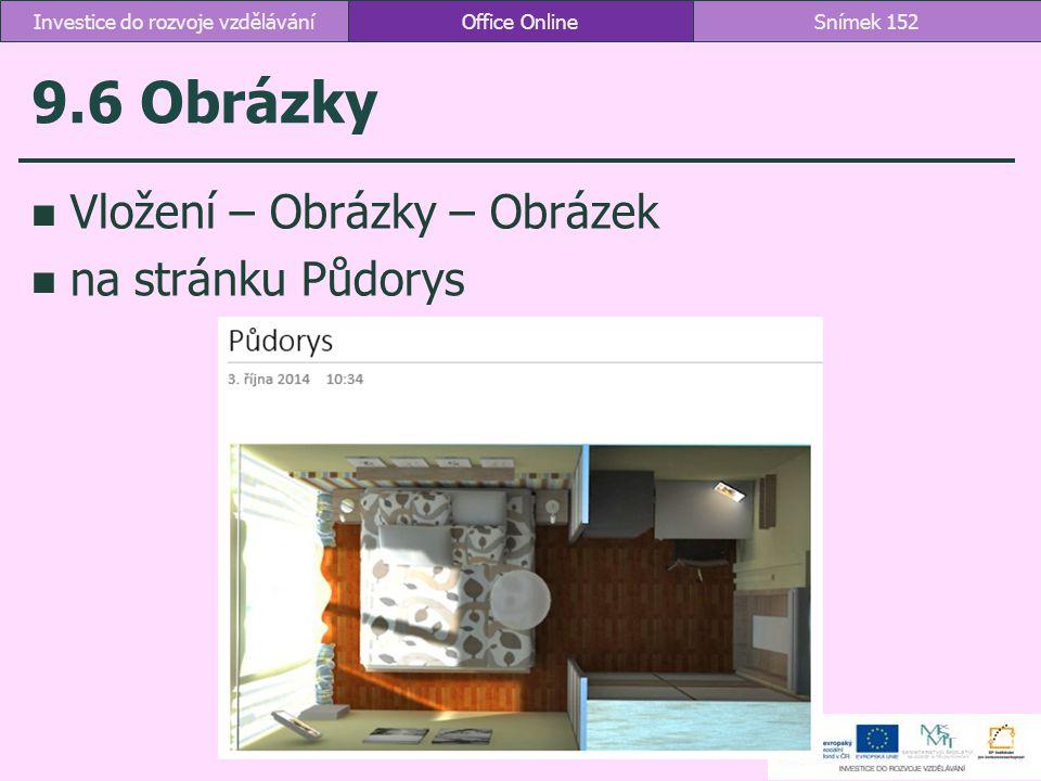 9.6 Obrázky Vložení – Obrázky – Obrázek na stránku Půdorys Office OnlineSnímek 152Investice do rozvoje vzdělávání