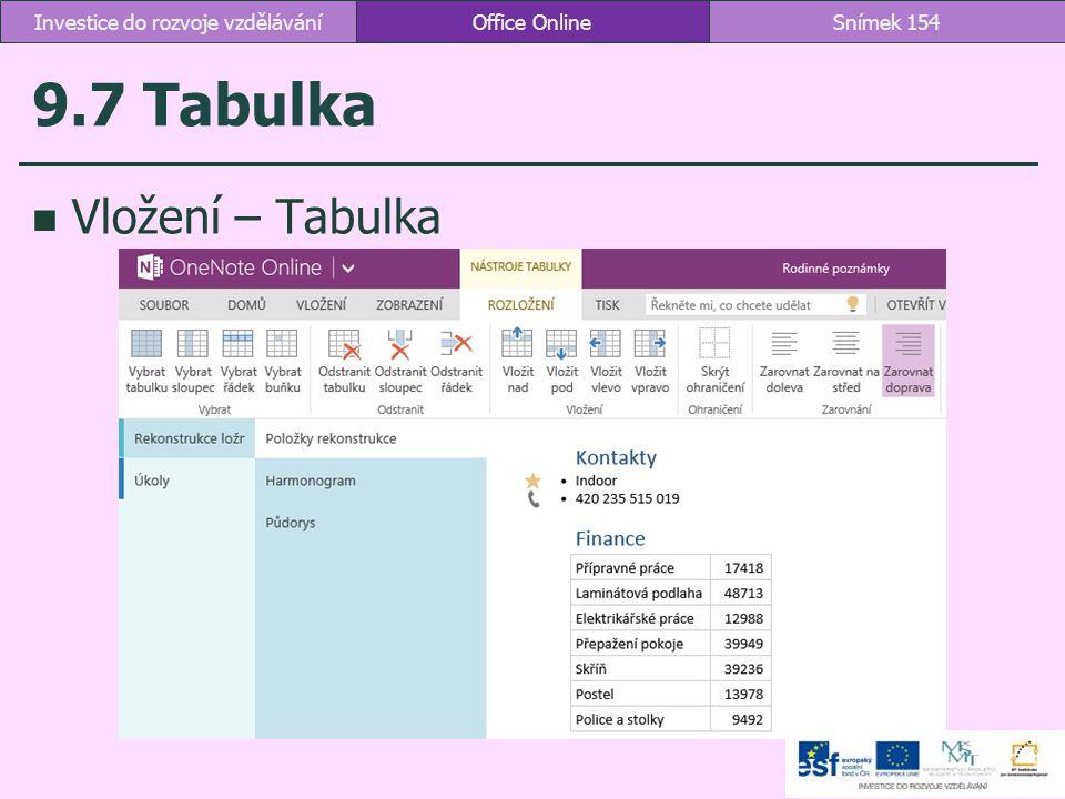 9.7 Tabulka Vložení – Tabulka Office OnlineSnímek 154Investice do rozvoje vzdělávání
