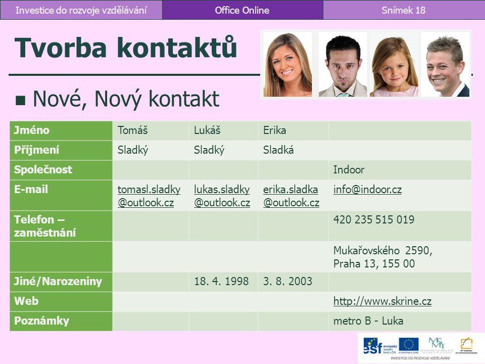 Tvorba kontaktů Nové, Nový kontakt Office OnlineSnímek 18Investice do rozvoje vzdělávání JménoTomášLukášErika PříjmeníSladký Sladká SpolečnostIndoor E