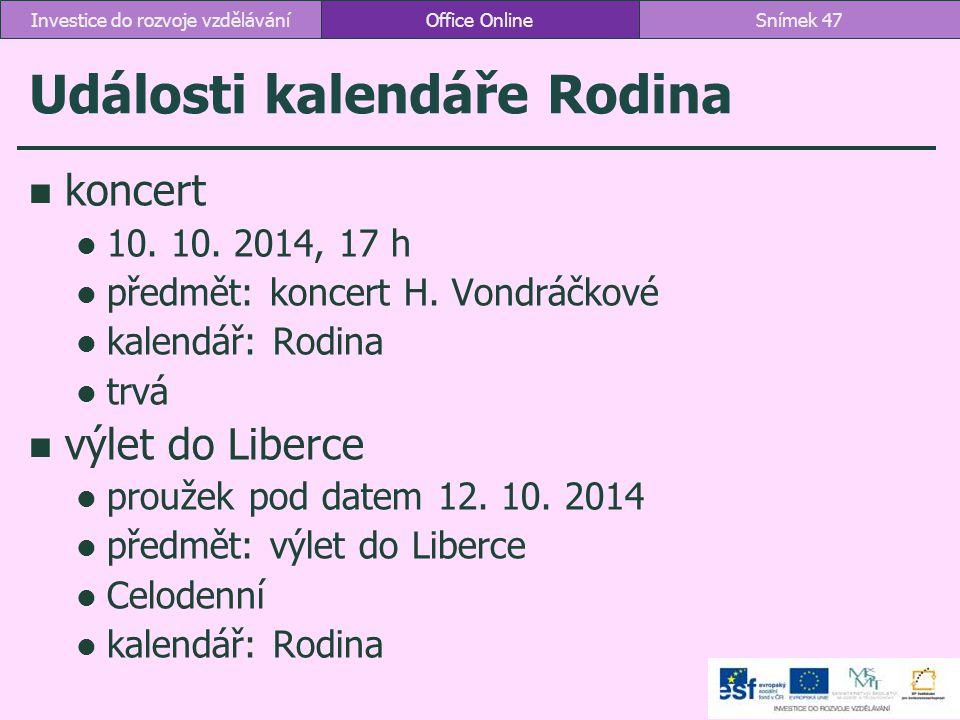 Události kalendáře Rodina koncert 10. 10. 2014, 17 h předmět: koncert H. Vondráčkové kalendář: Rodina trvá výlet do Liberce proužek pod datem 12. 10.