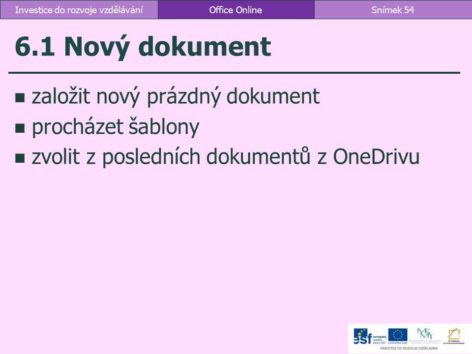 6.1 Nový dokument založit nový prázdný dokument procházet šablony zvolit z posledních dokumentů z OneDrivu Office OnlineSnímek 54Investice do rozvoje