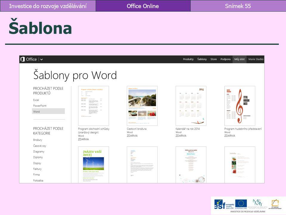 Šablona Office OnlineSnímek 55Investice do rozvoje vzdělávání