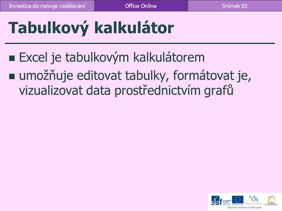 Tabulkový kalkulátor Excel je tabulkovým kalkulátorem umožňuje editovat tabulky, formátovat je, vizualizovat data prostřednictvím grafů Office OnlineS