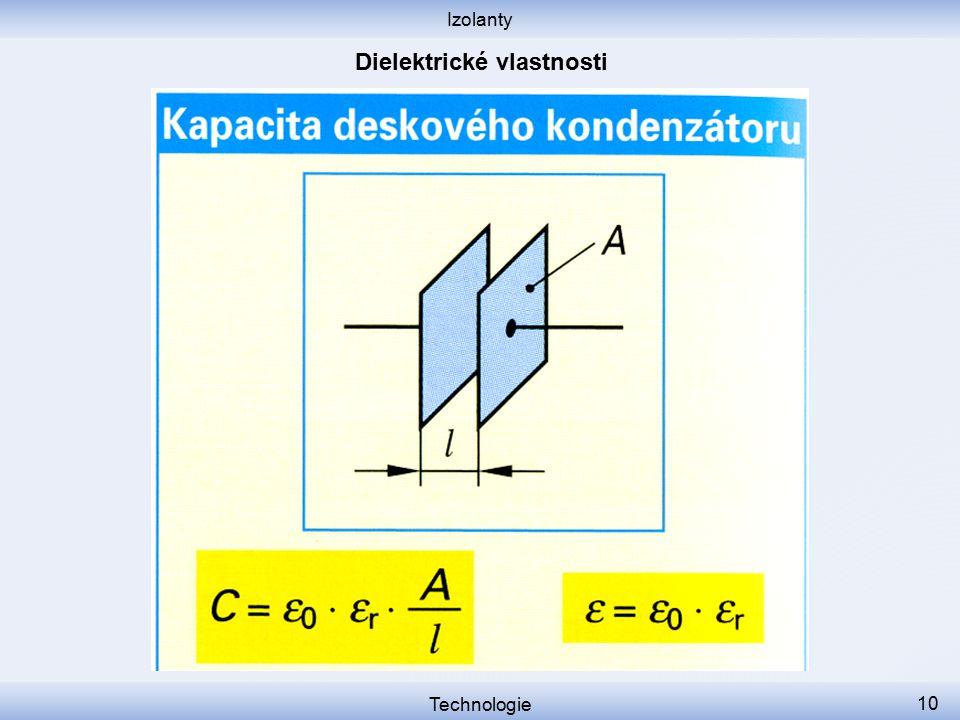 Izolanty Technologie 11 Ztrátový činitel tg δ vyjadřuje ztráty, které v dielektriku vznikají ve střídavém elektrickém poli.