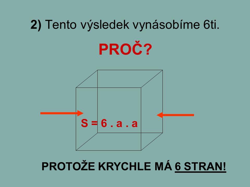 PROČ? 2) Tento výsledek vynásobíme 6ti. S = 6. a. a PROTOŽE KRYCHLE MÁ 6 STRAN!