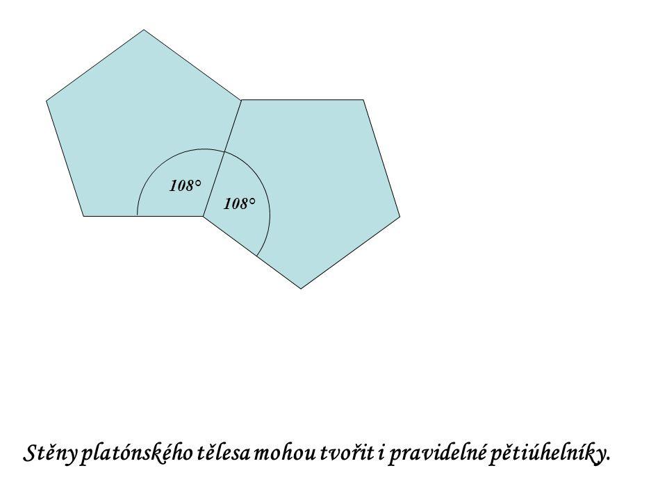 108° Stěny platónského tělesa mohou tvořit i pravidelné pětiúhelníky.