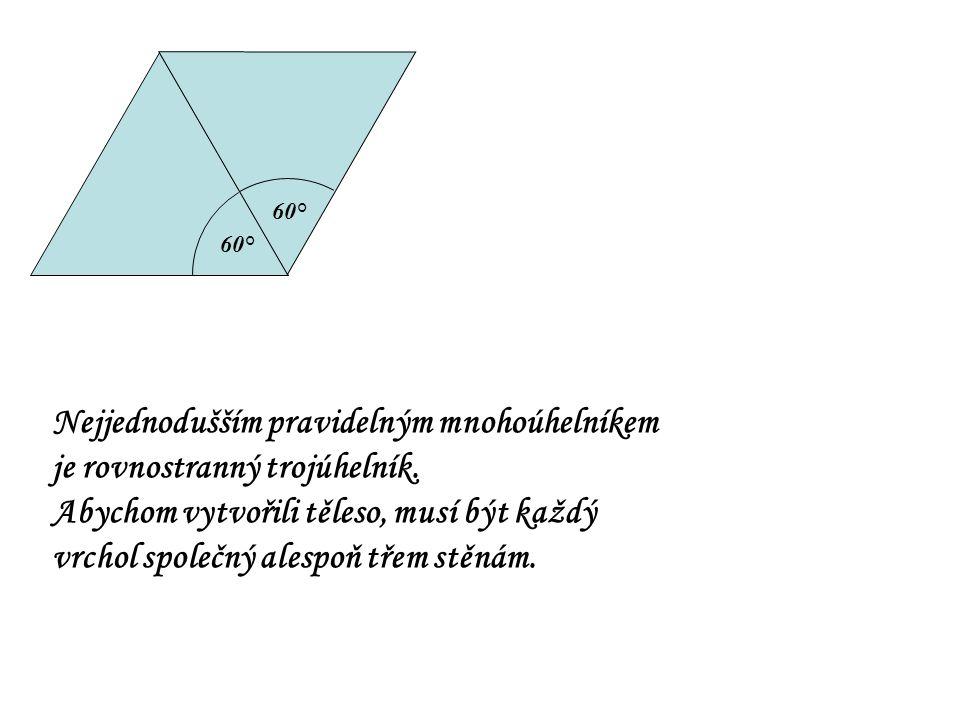 60° Nejjednodušším pravidelným mnohoúhelníkem je rovnostranný trojúhelník. Abychom vytvořili těleso, musí být každý vrchol společný alespoň třem stěná
