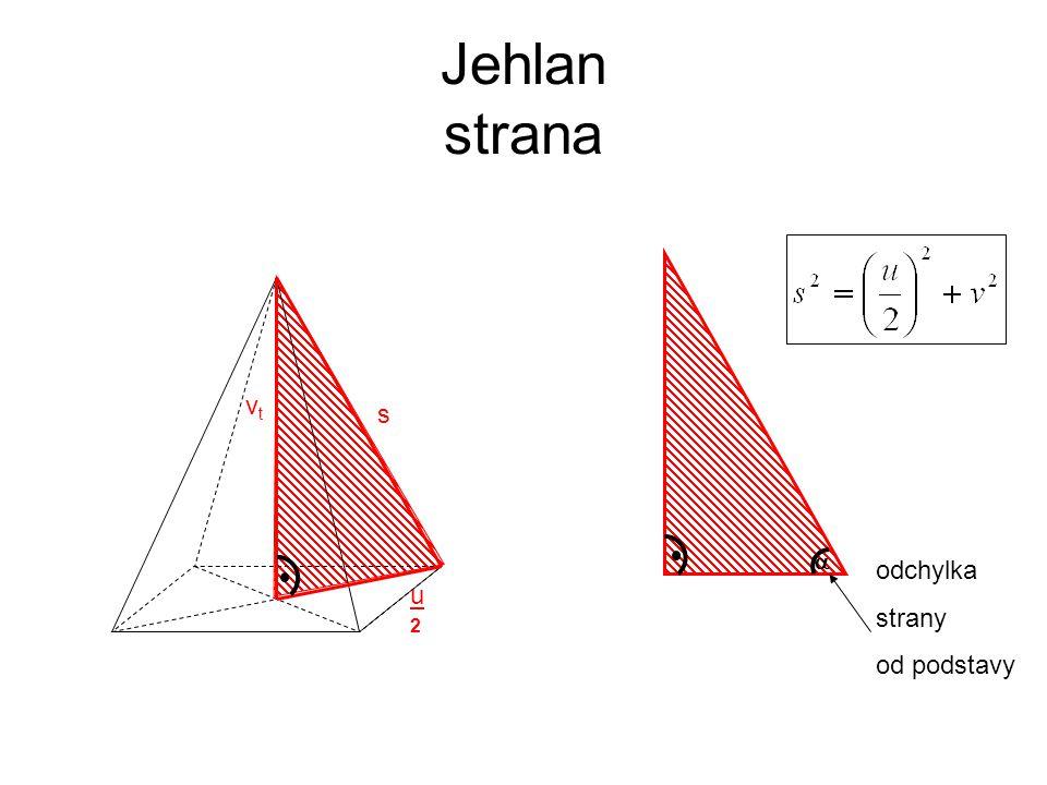 Jehlan strana vtvt u2u2 s  odchylka strany od podstavy