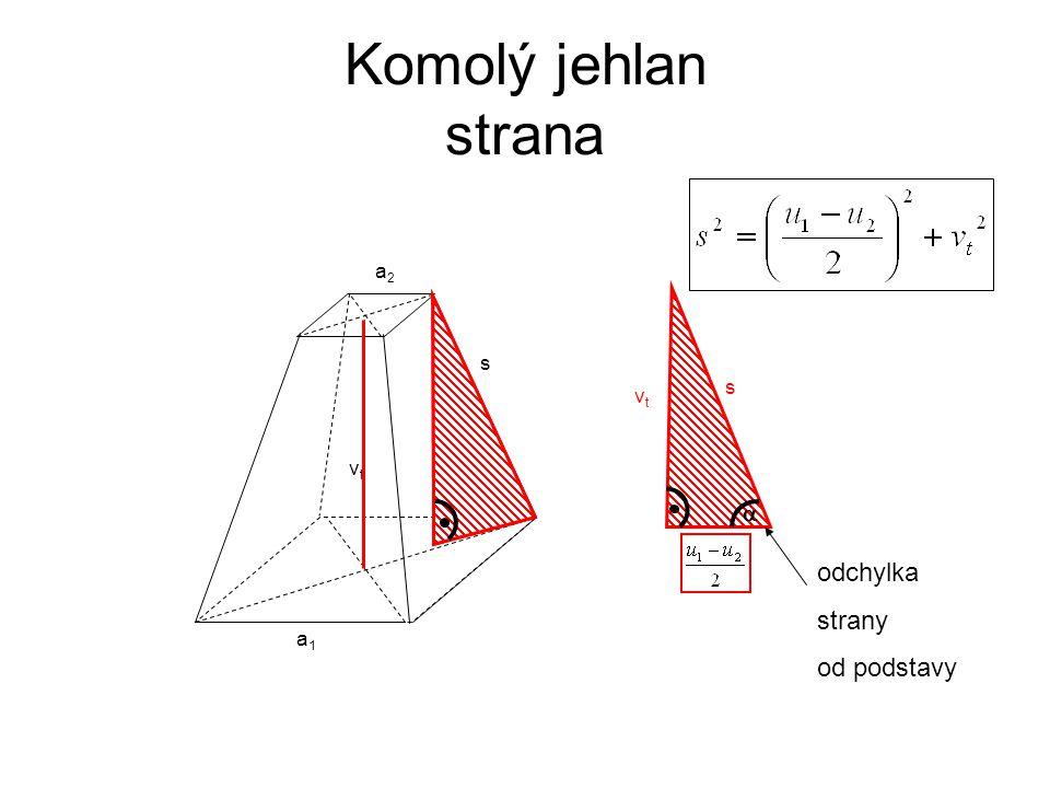 s vtvt a1a1 a2a2 Komolý jehlan strana s vtvt  odchylka strany od podstavy