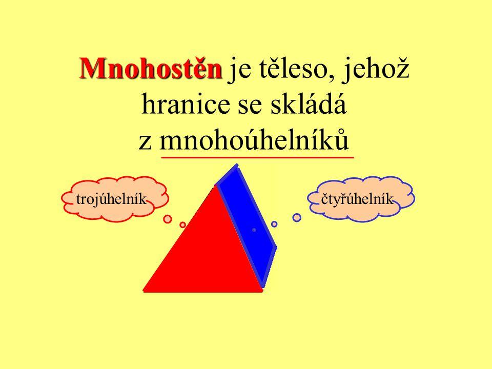 Mnohostěn Mnohostěn je těleso, jehož hranice se skládá z mnohoúhelníků trojúhelníkčtyřúhelník