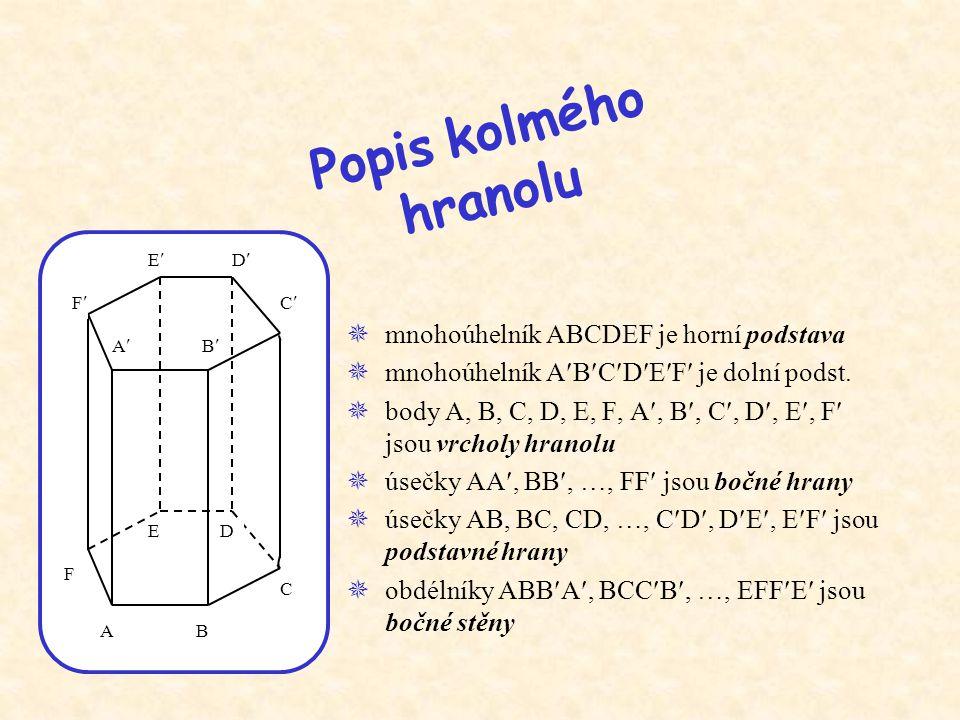  mnohoúhelník ABCDEF je horní podstava  mnohoúhelník ABCDEF je dolní podst.