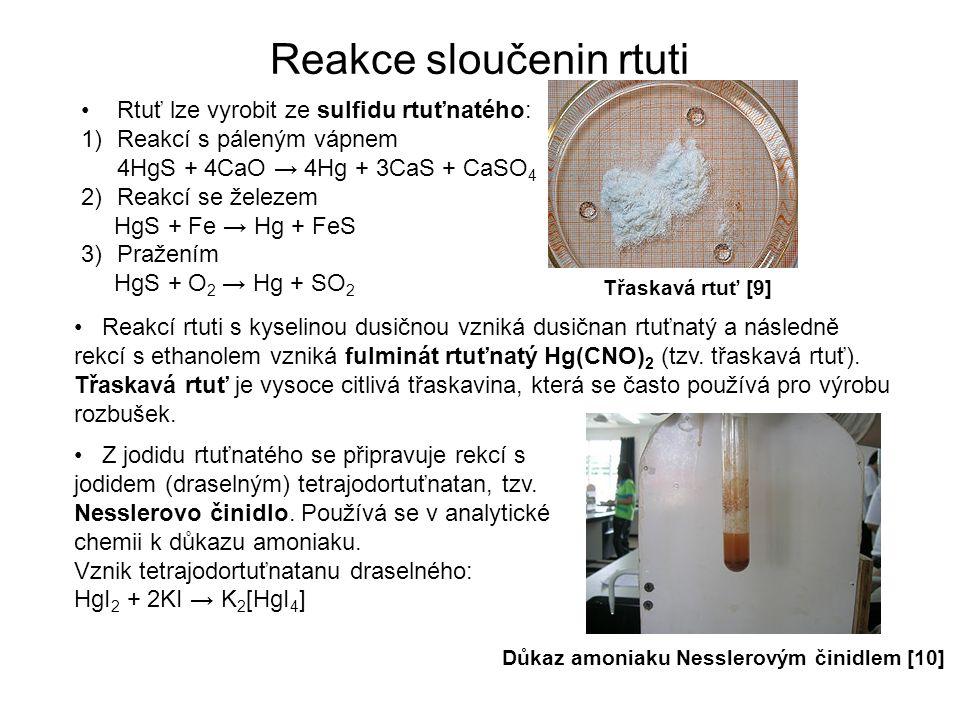 Reakce sloučenin rtuti Rtuť lze vyrobit ze sulfidu rtuťnatého: 1)Reakcí s páleným vápnem 4HgS + 4CaO → 4Hg + 3CaS + CaSO 4 2)Reakcí se železem HgS + Fe → Hg + FeS 3)Pražením HgS + O 2 → Hg + SO 2 Reakcí rtuti s kyselinou dusičnou vzniká dusičnan rtuťnatý a následně rekcí s ethanolem vzniká fulminát rtuťnatý Hg(CNO) 2 (tzv.