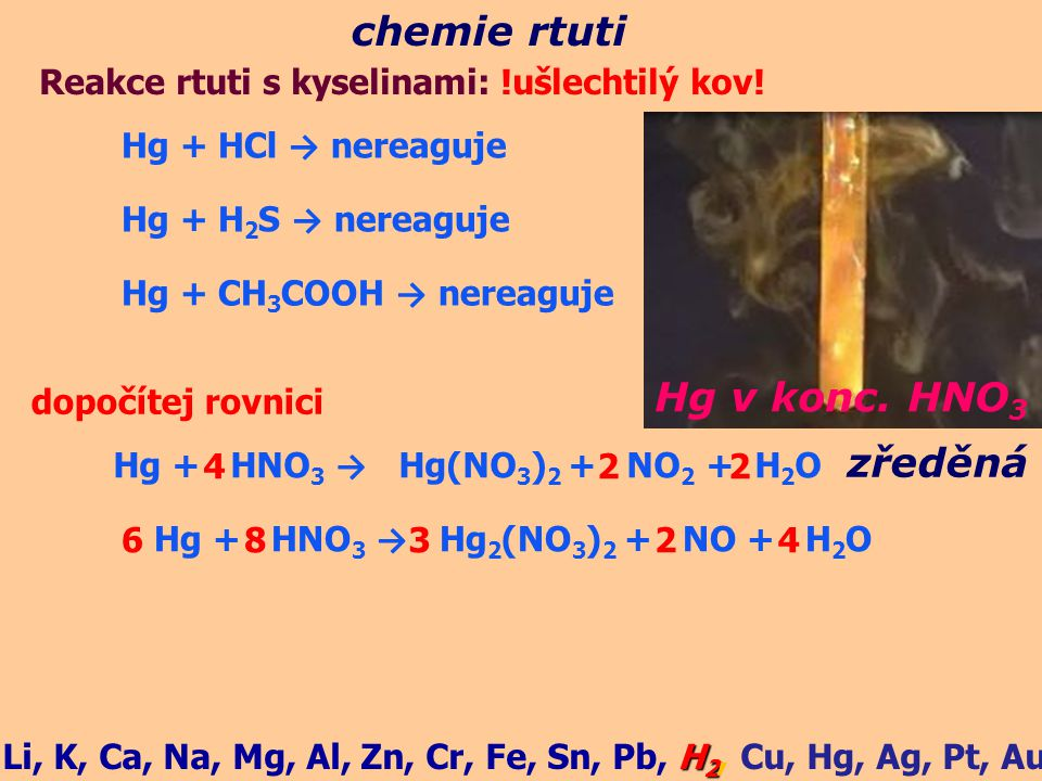 chemie rtuti Hg + HCl → nereaguje Reakce rtuti s kyselinami: !ušlechtilý kov! Hg + H 2 S → nereaguje Hg + CH 3 COOH → nereaguje Hg + HNO 3 → Hg(NO 3 )