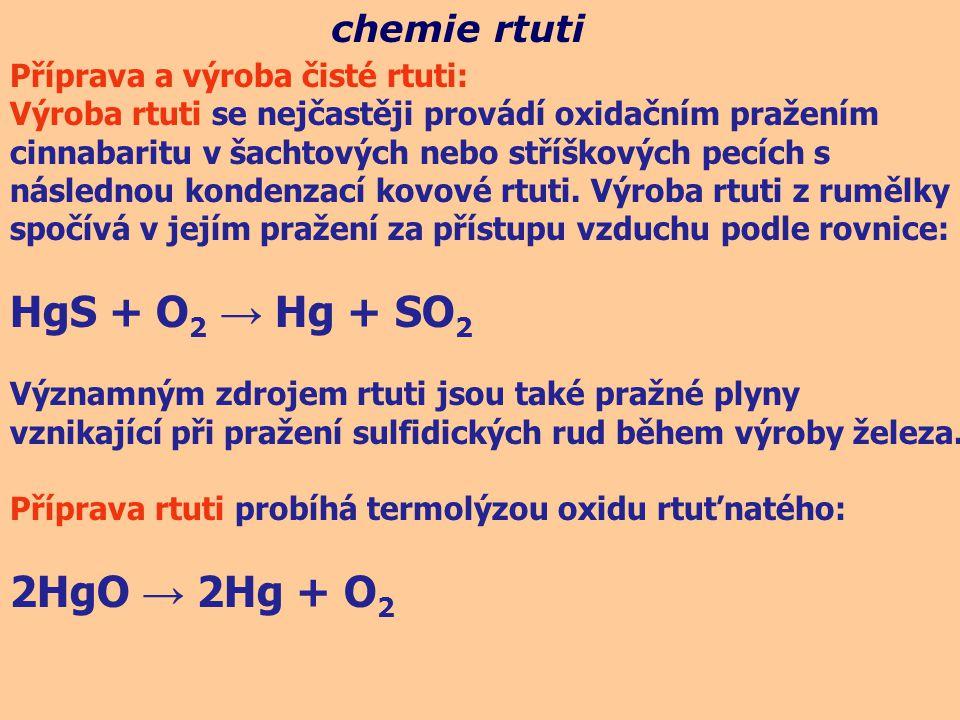 chemie rtuti Příprava a výroba čisté rtuti: Výroba rtuti se nejčastěji provádí oxidačním pražením cinnabaritu v šachtových nebo stříškových pecích s n