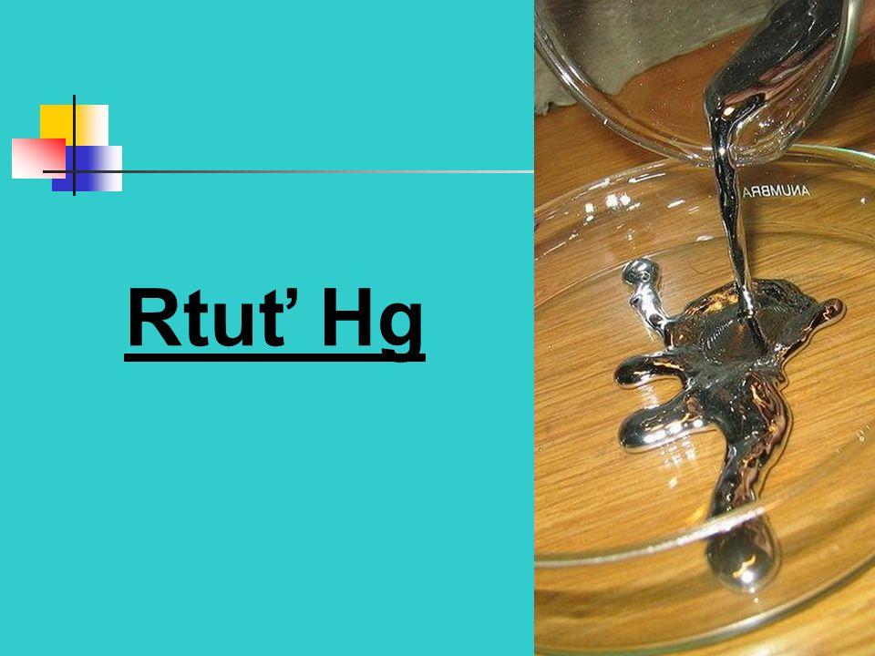 Rtuťné sloučeniny Hg 2 (NO 3 ) 2 - dusičnan rtuťný Rozpustné bezbarvé krystalky Hg 2 Cl 2 - chlorid rtuťný (kalomel) Bílý, nerozpustný Vzniká srážením solí chloridy