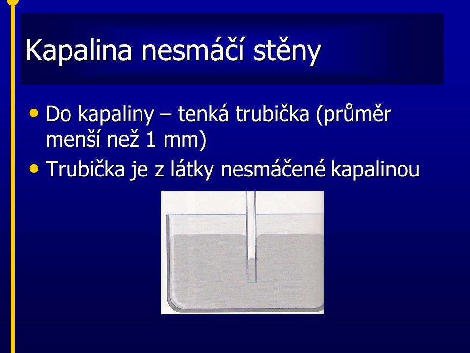 Kapalina nesmáčí stěny Do kapaliny – tenká trubička (průměr menší než 1 mm) Do kapaliny – tenká trubička (průměr menší než 1 mm) Trubička je z látky n