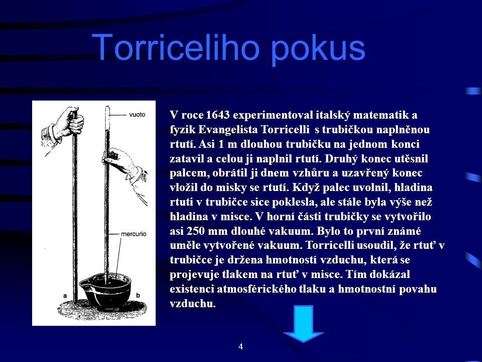 4 Torriceliho pokus V roce 1643 experimentoval italský matematik a fyzik Evangelista Torricelli s trubičkou naplněnou rtutí.