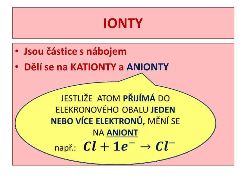 IONTY Jsou částice s nábojem Dělí se na KATIONTY a ANIONTY