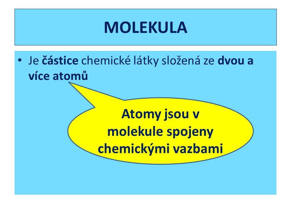 MOLEKULA Je částice chemické látky složená ze dvou a více atomů Atomy jsou v molekule spojeny chemickými vazbami