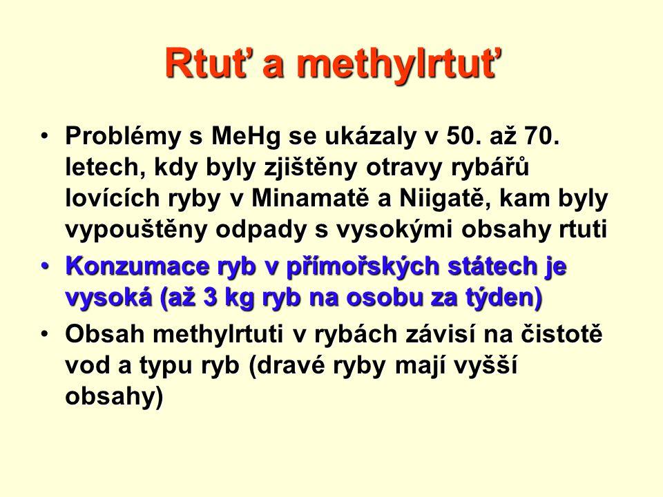 Rtuť a methylrtuť Problémy s MeHg se ukázaly v 50.