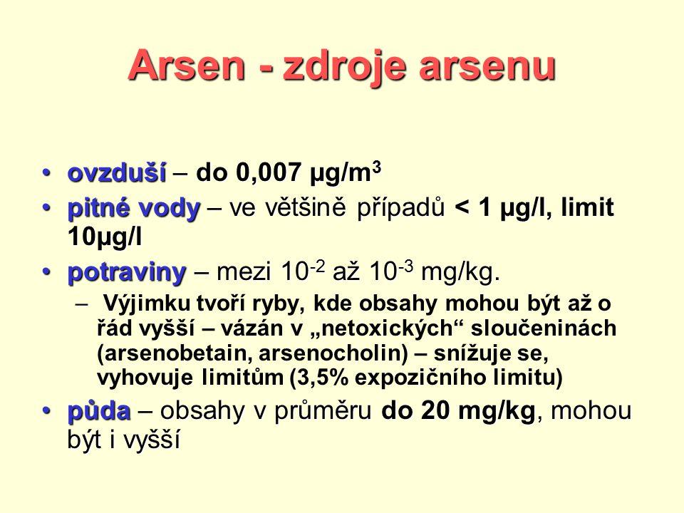 Arsen - zdroje arsenu ovzduší – do 0,007 µg/m 3ovzduší – do 0,007 µg/m 3 pitné vody – ve většině případů < 1 µg/l, limit 10µg/lpitné vody – ve většině případů < 1 µg/l, limit 10µg/l potraviny – mezi 10 -2 až 10 -3 mg/kg.potraviny – mezi 10 -2 až 10 -3 mg/kg.