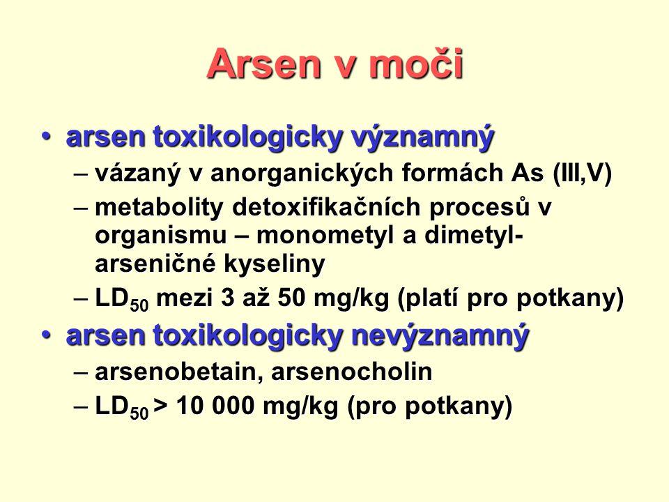 Arsen v moči arsen toxikologicky významnýarsen toxikologicky významný –vázaný v anorganických formách As (III,V) –metabolity detoxifikačních procesů v organismu – monometyl a dimetyl- arseničné kyseliny –LD 50 mezi 3 až 50 mg/kg (platí pro potkany) arsen toxikologicky nevýznamnýarsen toxikologicky nevýznamný –arsenobetain, arsenocholin –LD 50 > 10 000 mg/kg (pro potkany)