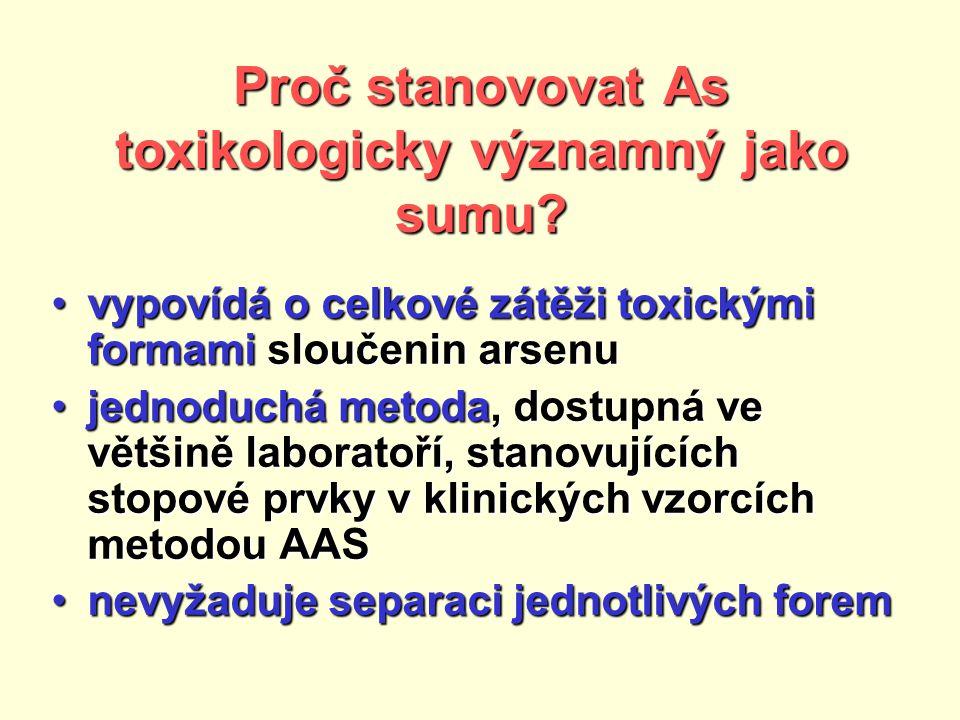 Proč stanovovat As toxikologicky významný jako sumu.