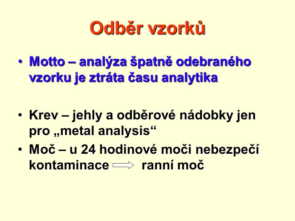 """Odběr vzorků Motto – analýza špatně odebraného vzorku je ztráta času analytikaMotto – analýza špatně odebraného vzorku je ztráta času analytika Krev – jehly a odběrové nádobky jen pro """"metal analysis Krev – jehly a odběrové nádobky jen pro """"metal analysis Moč – u 24 hodinové moči nebezpečí kontaminace ranní močMoč – u 24 hodinové moči nebezpečí kontaminace ranní moč"""