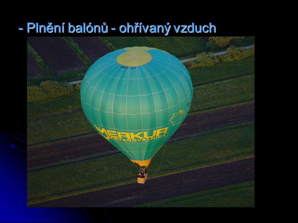 - Plnění balónů - ohřívaný vzduch
