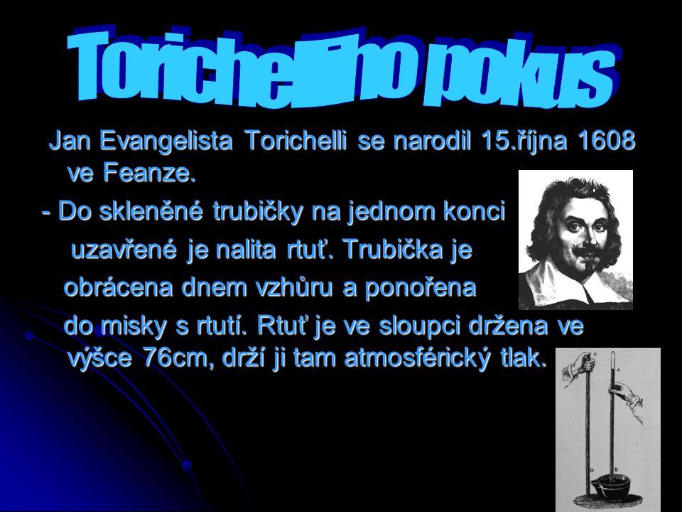 Jan Evangelista Torichelli se narodil 15.října 1608 ve Feanze. Jan Evangelista Torichelli se narodil 15.října 1608 ve Feanze. - Do skleněné trubičky n