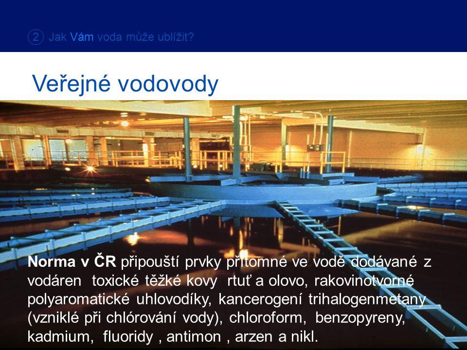 Norma v ČR připouští prvky přítomné ve vodě dodávané z vodáren toxické těžké kovy rtuť a olovo, rakovinotvorné polyaromatické uhlovodíky, kancerogení trihalogenmetany (vzniklé při chlórování vody), chloroform, benzopyreny, kadmium, fluoridy, antimon, arzen a nikl.