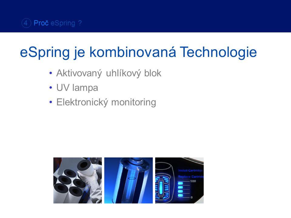 Elektronický monitoring 4 Proč eSpring ? eSpring je kombinovaná Technologie Aktivovaný uhlíkový blok UV lampa