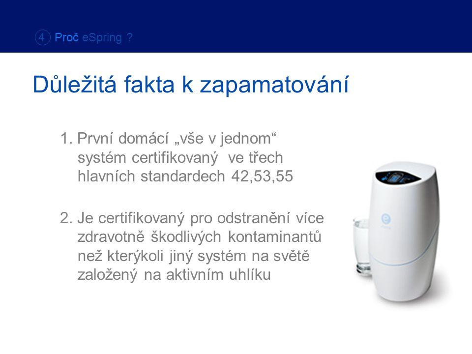 """1. První domácí """"vše v jednom"""" systém certifikovaný ve třech hlavních standardech 42,53,55 2. Je certifikovaný pro odstranění více zdravotně škodlivýc"""
