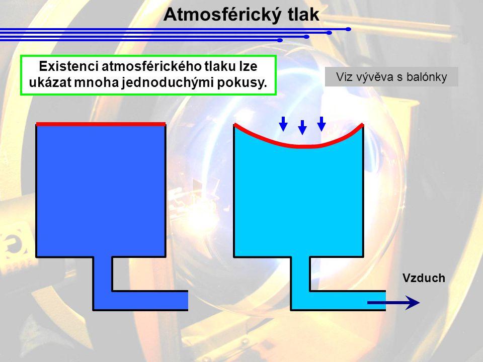 Atmosférický tlak Existenci atmosférického tlaku lze ukázat mnoha jednoduchými pokusy. Vzduch Viz vývěva s balónky