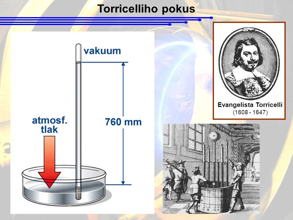 Torricelliho pokus Evangelista Torricelli (1608 - 1647)