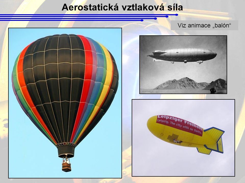 """Aerostatická vztlaková síla Viz animace """"balón"""""""
